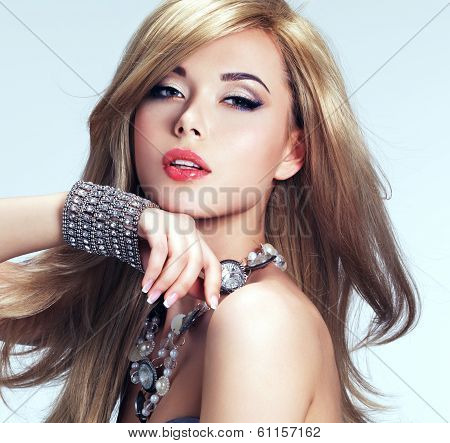 Portrait Of A Beautiful  Fashion Woman With Bright Makeup