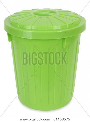 Green plastic trash can