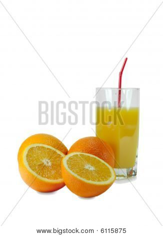 Oranges And Glass With Orange Juice