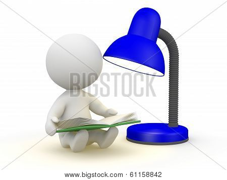 3D Man with Book and Lamp