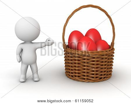 3D Character Showing Basket with Easter Eggs