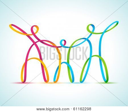 Vector illustration of three swirly figures holding hands