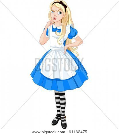 Thinking Alice from Wonderland story