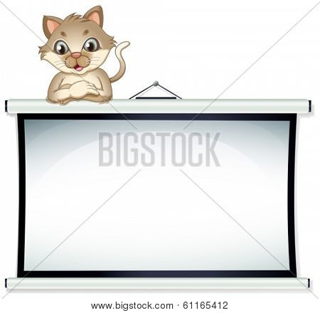 Illustration of a bulletin board with a cat on a white background