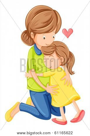 Illustration of a love of a mother and a daughter on a white background