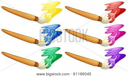Illustration of the different design of painter's brush on a white background