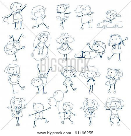 Illustration of the sketch of kids playing on a white background