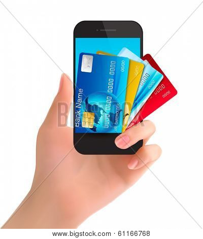 Credit cards in a phone. Internet banking concept. Vector.
