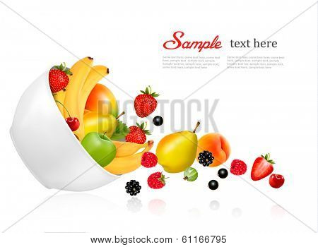 Fruit and berries falling from a bowl. Concept of healthy eating. Vector.