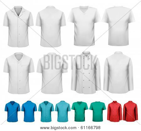 et of white and colorful work clothes. Design template. Vector illustration.