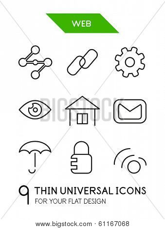 Web administration thin line icon set - 9 computer symbols for your flat deisgn