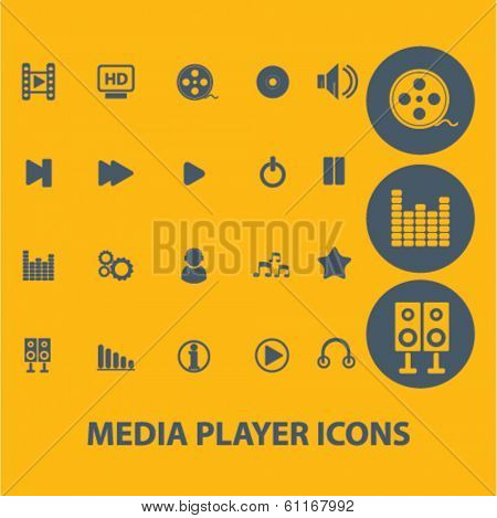 media player icons, buttons, symbols, buttons isolated set, vector on background