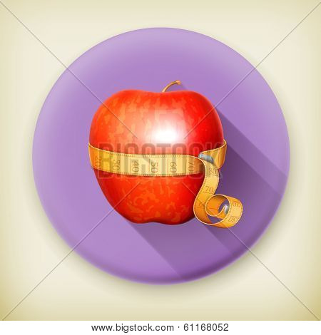 Tape measurement and apple long shadow vector icon