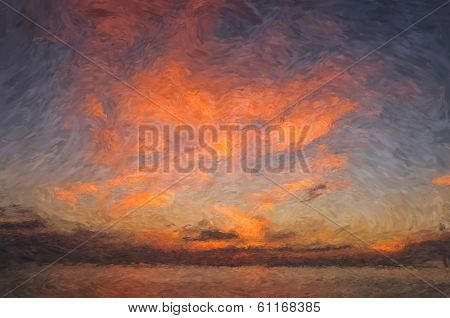 Impressionist style painting of a sunset over water