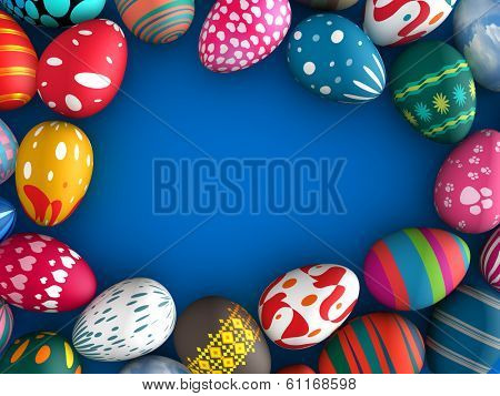 Easter eggs with blue color copy space background 3d illustration.