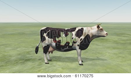 Cow Puzzle could represent modern farming and  processing of beef and dairy products