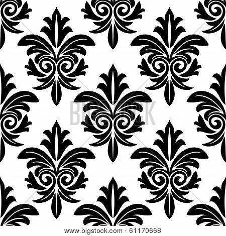 Bold foliate arabesque motif in black and white