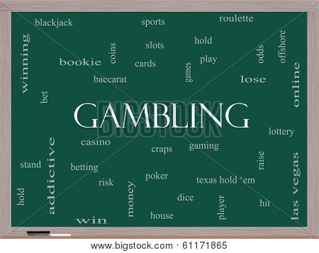 Gambling Word Cloud Concept On A Blackboard
