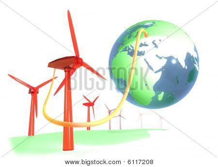 Wind energy farm and blue earth