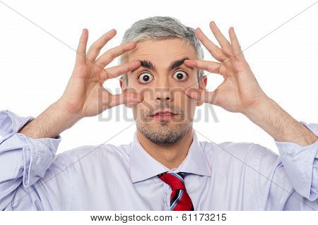 Businessman With Eyes Wide Open