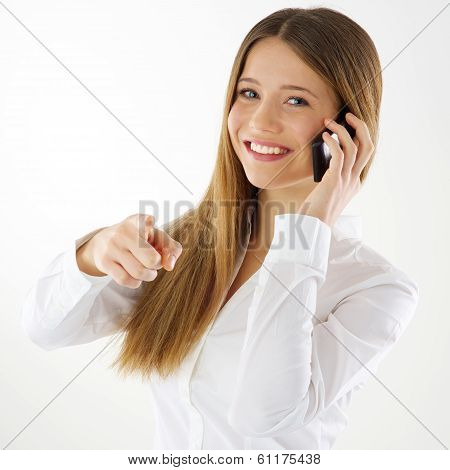 Woman Pointing Finger At You