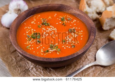 Tomatos Soup Puree On Crushed Brown Paper