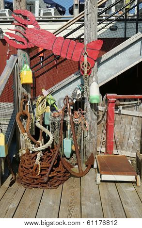 Lobster buoys and nets at the dock in Bar Harbor, Maine