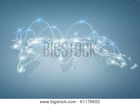 international business, technology and social networking concept - illustration of world map with digital connections between cities