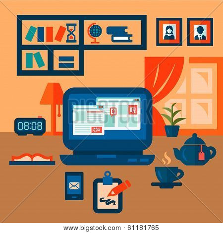 flat concept of business workspace