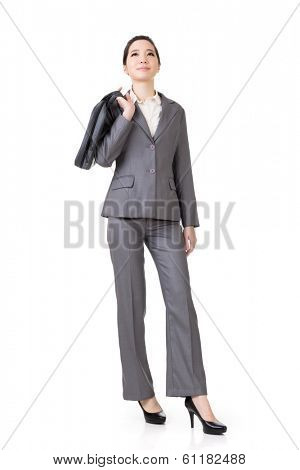 Confident Asian businesswoman, full length portrait isolated on white background.