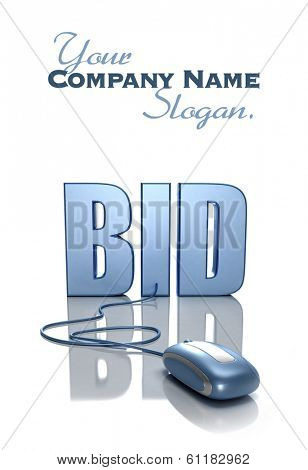 3D rendering of the word BID connected to a computer mouse