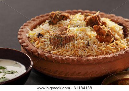 Mutton Gosht Biryani - A Rice Preparation With Mutton And Spices
