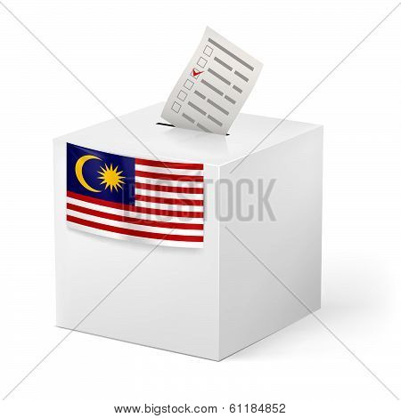 Ballot box with voting paper. Malaysia