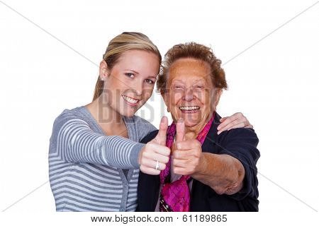 a grandson visited his grandmother. laughter and joy. thumbs up
