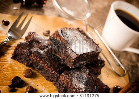 Brownies And Cup Of Coffee