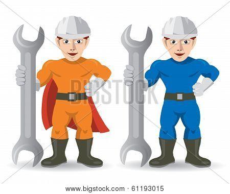 Fitter mechanic repairman mascot