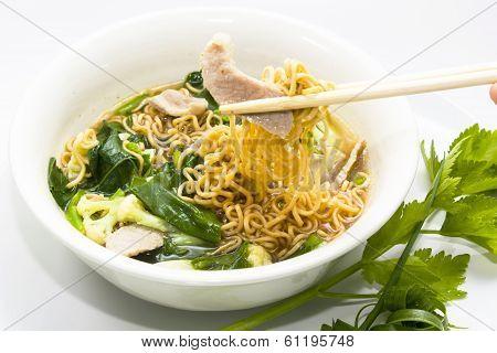 Eating Of Prepared Instant Ramen eating