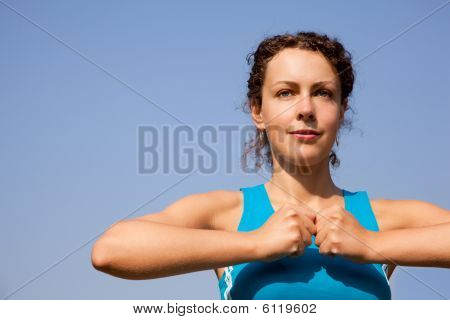 Young Woman During Fitness Outdoors