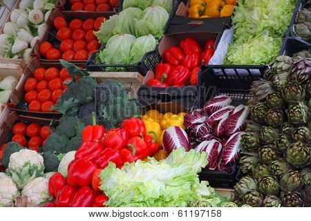Red Chicory, Radicchio, Red Peppers, Artichokes, Salad Greens And Other Vegetables For Sale In The M