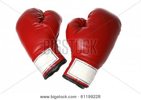 Red pair of boxing gloves on white
