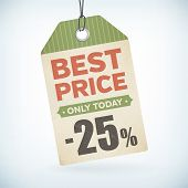 Best Price Only Today Paper -25 Percent Price Off Tag