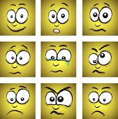 stock photo of blubber  - a cartoon yellow face group of nine - JPG