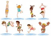 stock photo of one piece swimsuit  - Illustration of the different kids enjoying the water on a white background - JPG