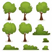 stock photo of cartoons  - Illustration of a set of cartoon spring or summer trees and other green forest elements with bush hedges - JPG