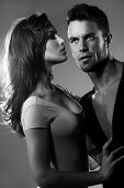 image of lovers  - Passionate couple of lovers in the studio - JPG