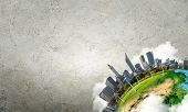 foto of solar battery  - Conceptual image of city landscape - JPG