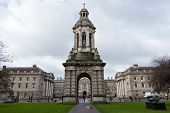 stock photo of trinity  - Bell Tower in the courtyard of the Trinity College - JPG