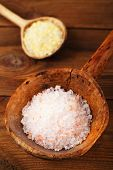 Himalayan Pink Crystal Rock salt in rustic wooden spoons