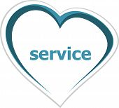 Marketing Concept, Service Word On Love Heart
