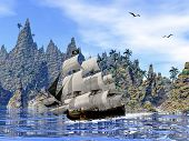Pirate ship on the coast - 3D render
